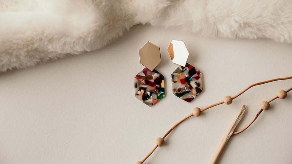 Gold & Rainbow Resin Earrings