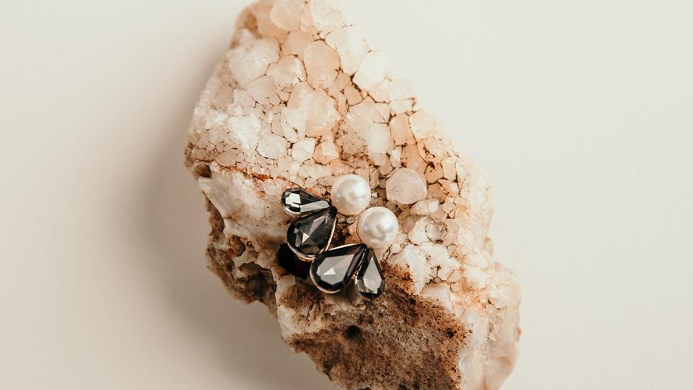 Pearl & Grey Teardrop Earrings