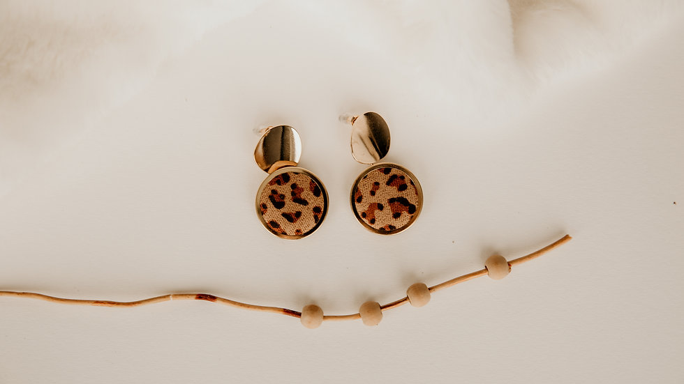 Gold & Leopard Print Round Earrings