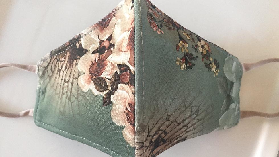 Green & Beige Blossom Mask