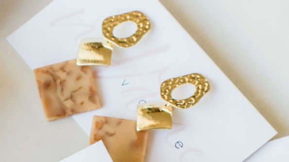 Gold & Brown Square Drop Earrings