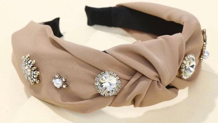Pearl & Rhinestone Khaki Aliceband