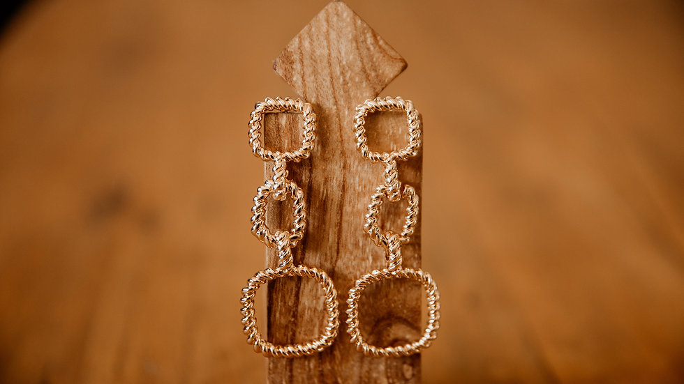 Gold Square Chain Earrings