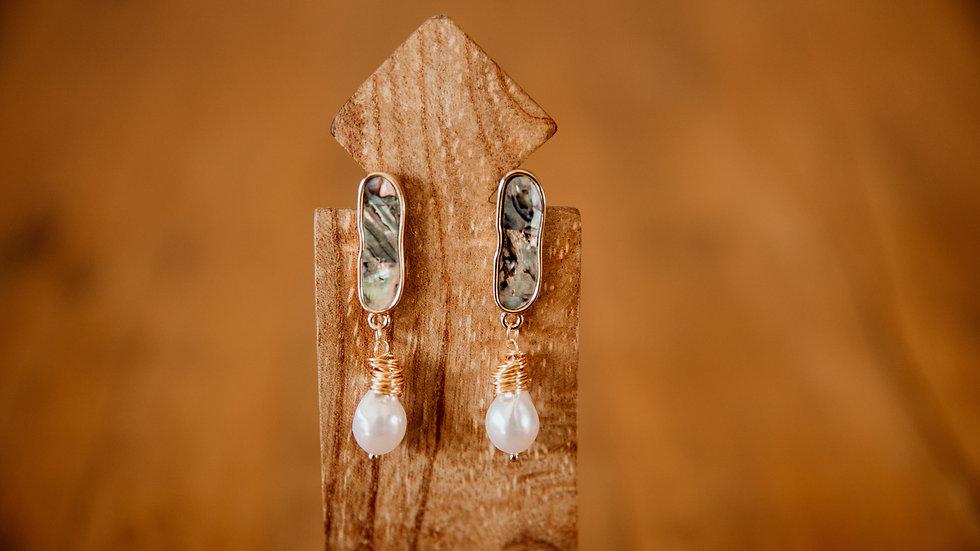 Gold & Pearl Tear Earrings