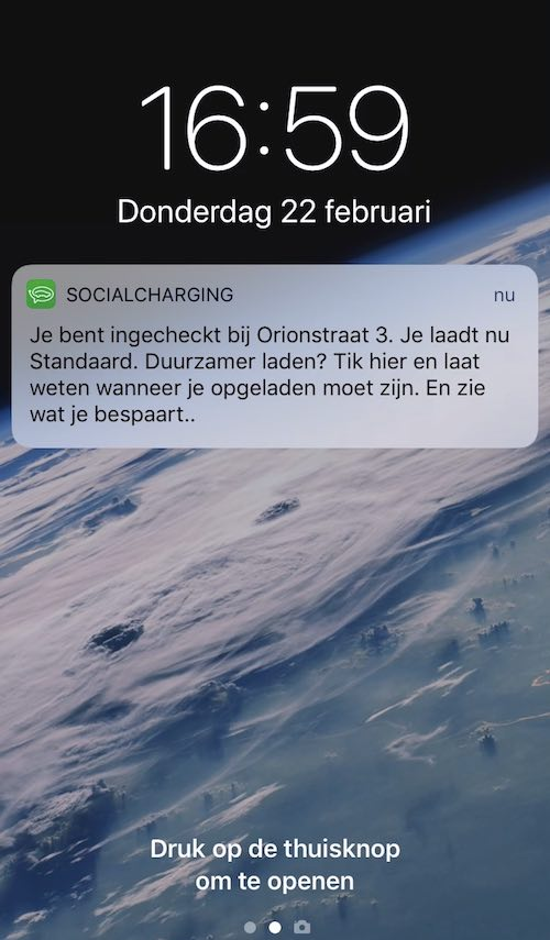 Ingecheckt - Groenradar push message