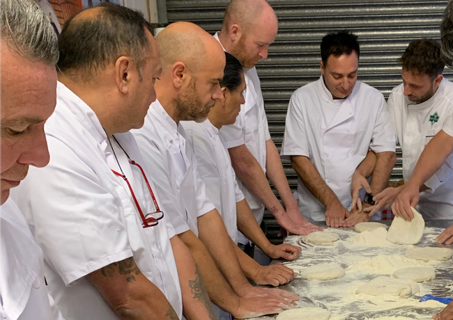 Pizza dough stretching in London