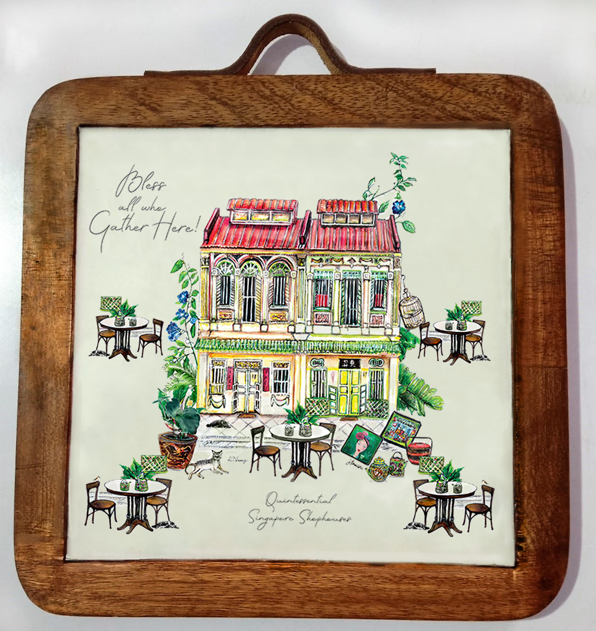 trivet shophouse-mango wood