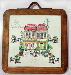 trivet shophouse-mango wood