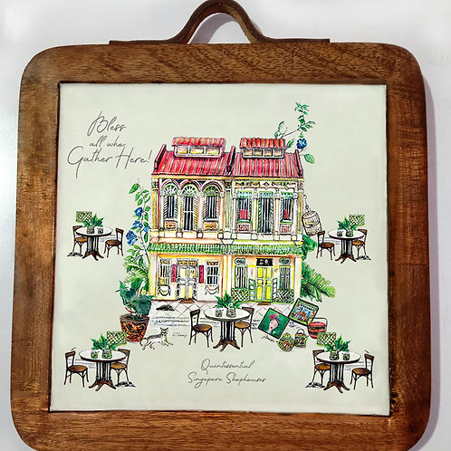 Mango Wood Trivet with Decorative Enamel of Shophouse – available by Chr