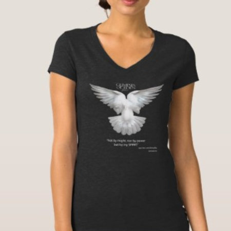 Winged Dove- 100% cotton  Jersey V-necked T-shirt
