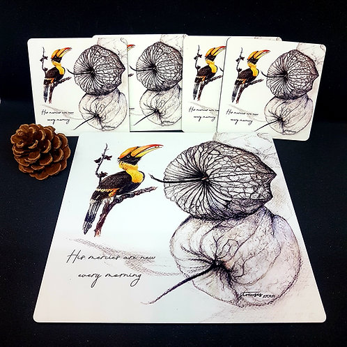 Great Hornbill - Birds of SG- Tea Placemat and coasters-gift boxed