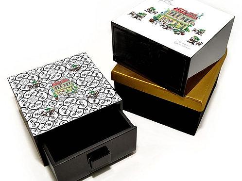 Treasure box, shophouse on Peranakan tiles
