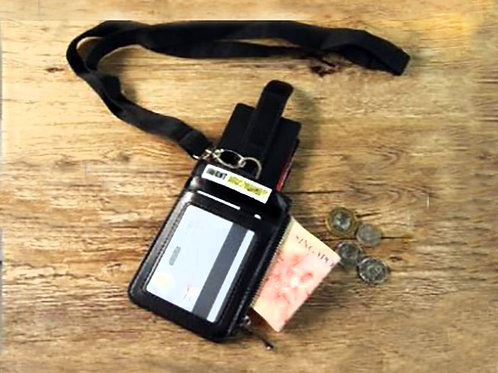 Staff pass Leather Card Holder and Wallet with RFID- with lanyard