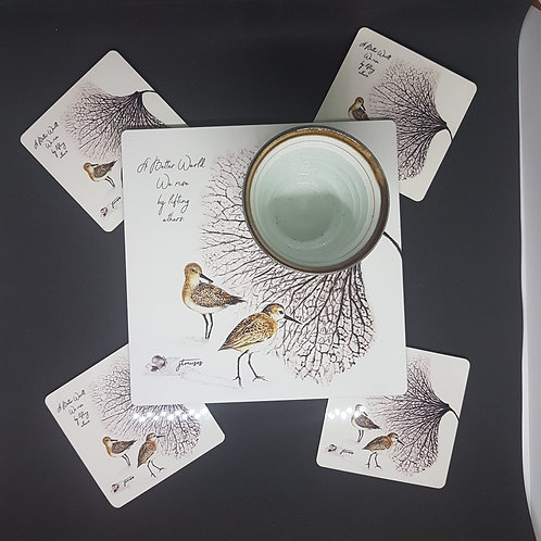 Sandpiper - Birds of SG- Tea Placemat and coasters-gift boxed