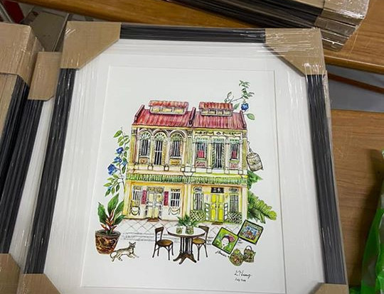 framed print of shophouse