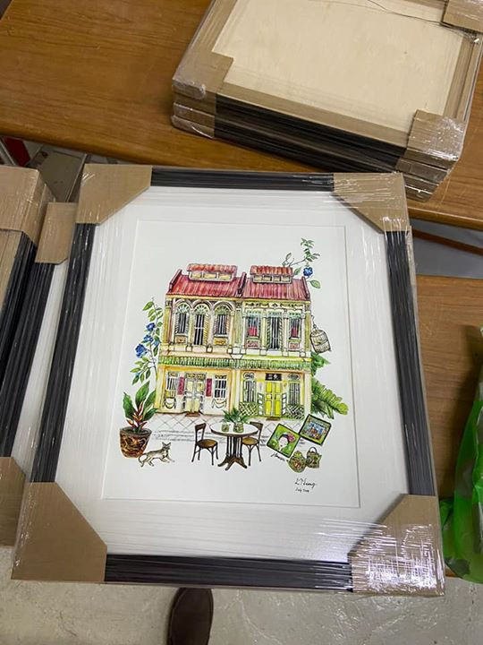 framed print of shophouse