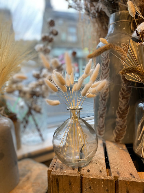 White Bunny Tails in Clear Round Glass Vase