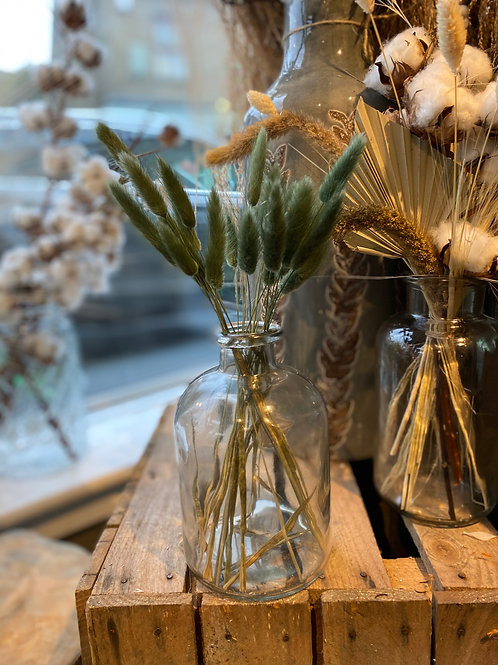 Green Bunny Tails in Clear Glass Vase
