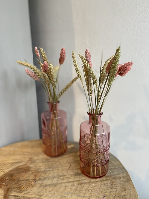 Pink Vase with Dried Flowers