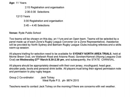 RYDE/BEECROFT/HORNSBY/KURING-GAI PSSA Zone Rugby League Trials