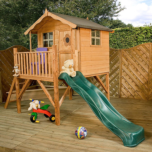 Горка с игровым домом Домик на сваях