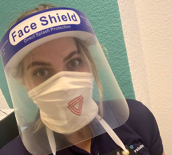 Physiotherapist wearing personal protective equipment