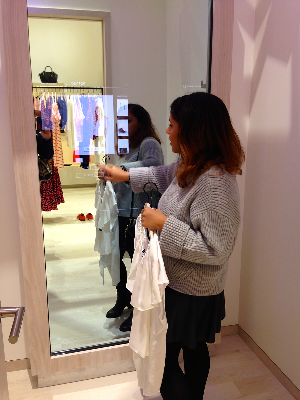 Rebecca Minkoff Store, Dynamic Visual Merchandising Screen, Fitting Room
