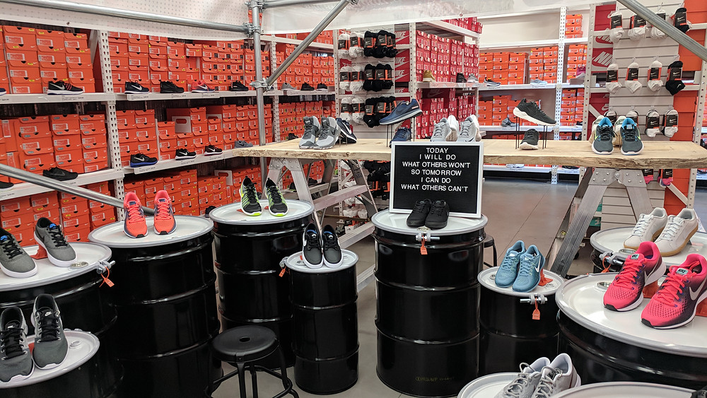 Nike visual merchandising at pop-up shop in DSW.