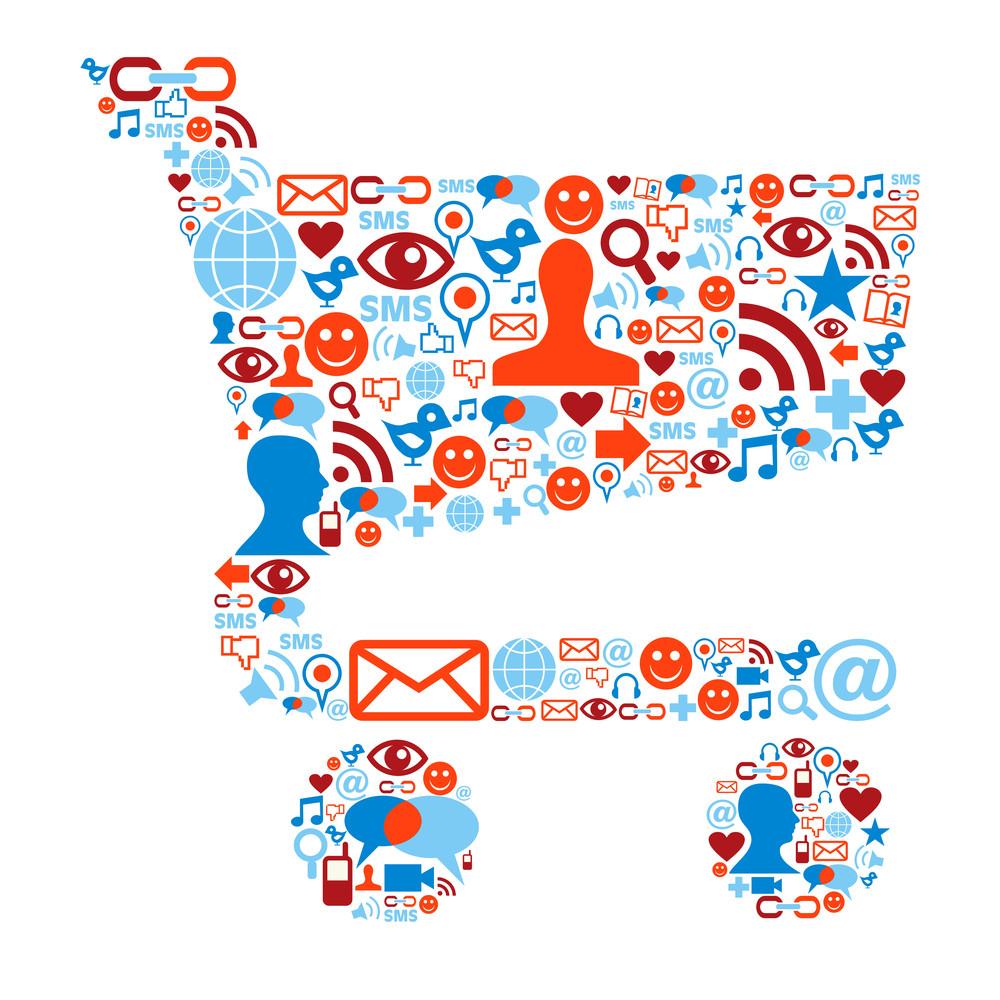 Shopping Cart Image made up of social media icons