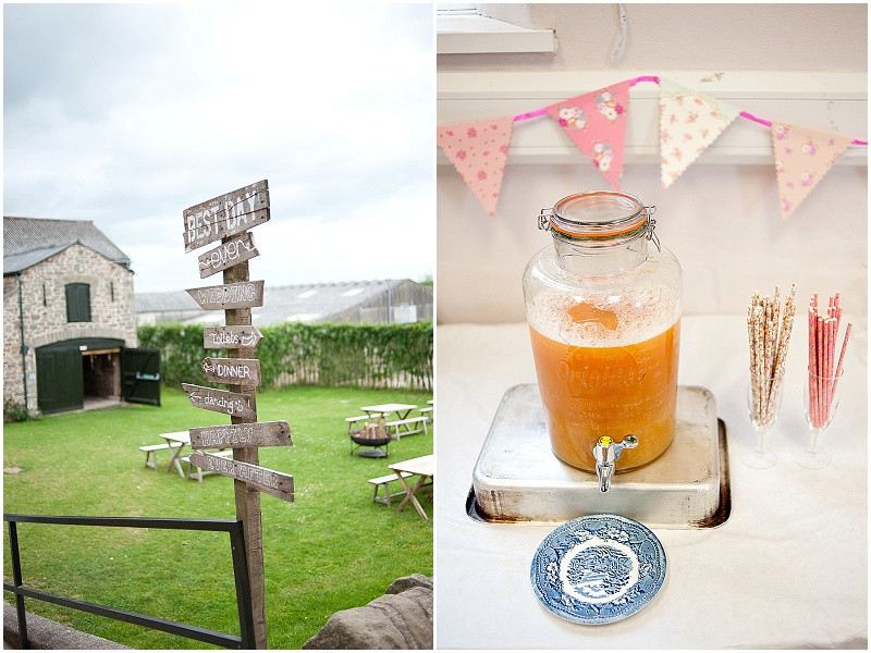 homamde wooden sign and fruit juice with colourful straws for a rustic wedding at Lyde Court wedding venue Herefordshire