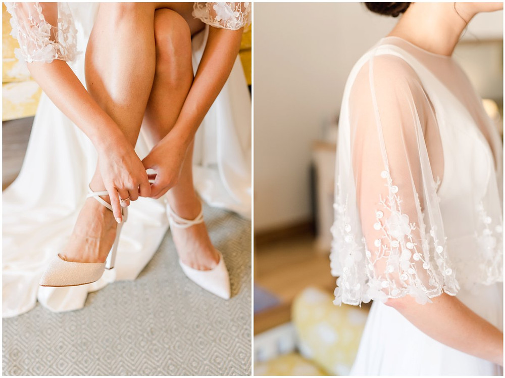 A bride getting ready at Mickleton Hills Farm Cotswolds wedding venue with Charlotte Mills shoes and an elegant cape