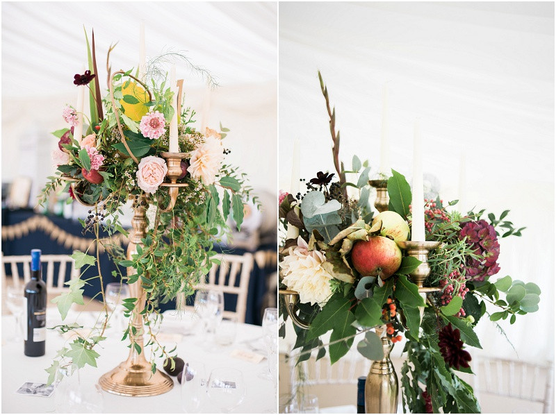 Rustic Autumnal wedding flowers gold candelabras and fruit at Hillles House marquee wedding