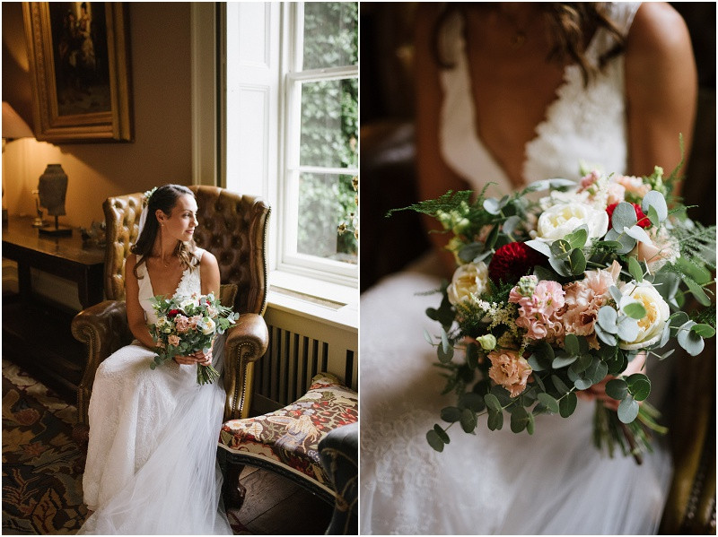 An Autumn wedding at Dewsall Court with Cymbeline Paris dress and seasonal flowers