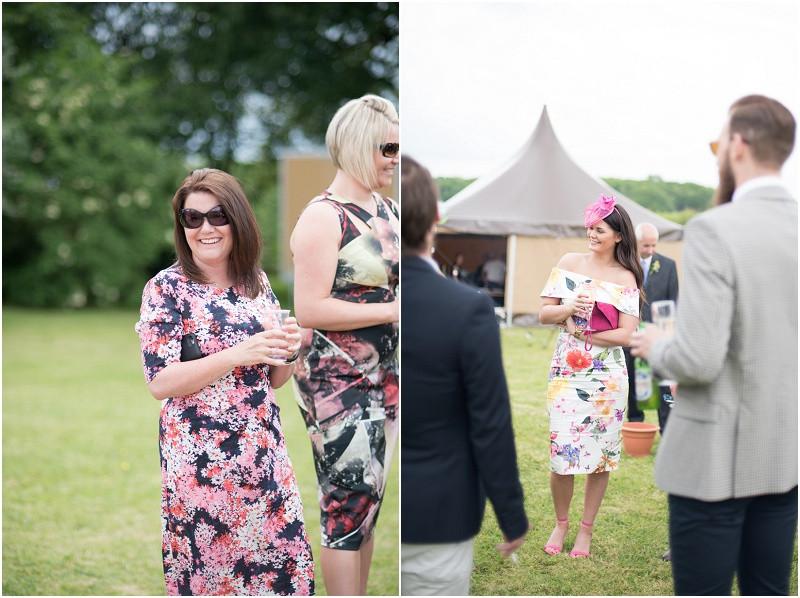 Boho tipi wedding Peak tipis Nottinghamshire guests laughing