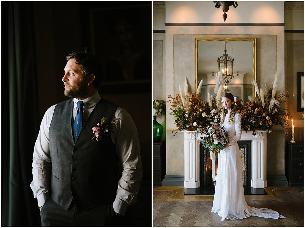 An intimate wedding at luxury wedding venue No131 Cheltenham with pampas grass and a Grace loves Grace dress