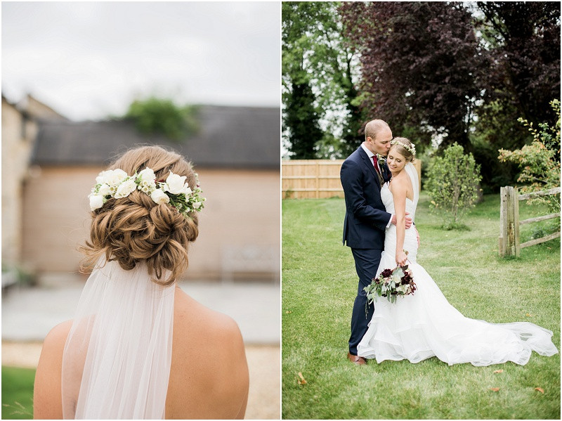 elegant bride and groom at wedding venue Blackwell grange by Cotswolds wedding photographer