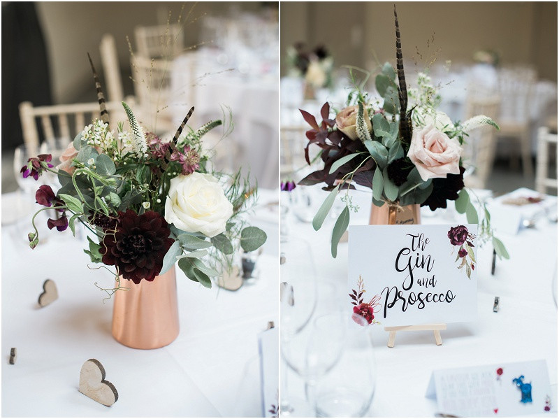 Calligraphy wedding stationary and flowers by Jennry Fleur at Blackwell Grange Cotswolds wedding venue