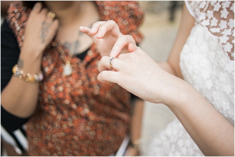Bride shows wedding ring The House Mill Bromley by Bow
