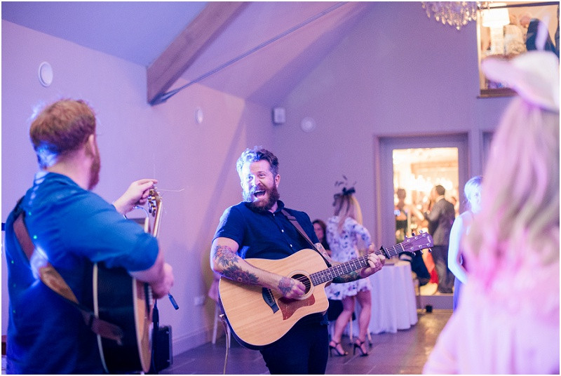 Guests dancing on dancefloor at Cotswolds wedding venue Blackwell grange by Glocuestershire wedding photographer