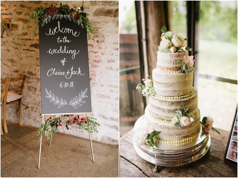 An Autumn wedding at Dewsall Court with Cymbeline Paris dress and naked wedding cake