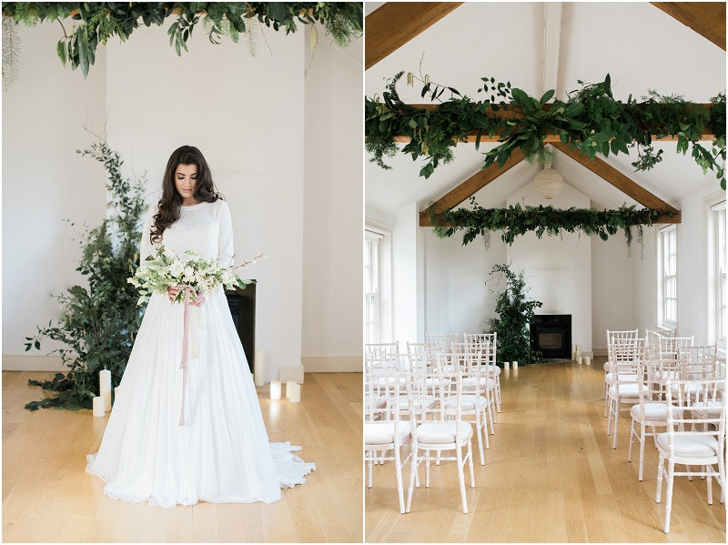 Cotswolds marquee wedding venue white simplicity fine art foliage boho bride in skirt and top