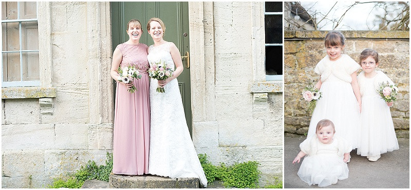 Bride and bridesmaids in pink and white for winter wedding at The Moonraker