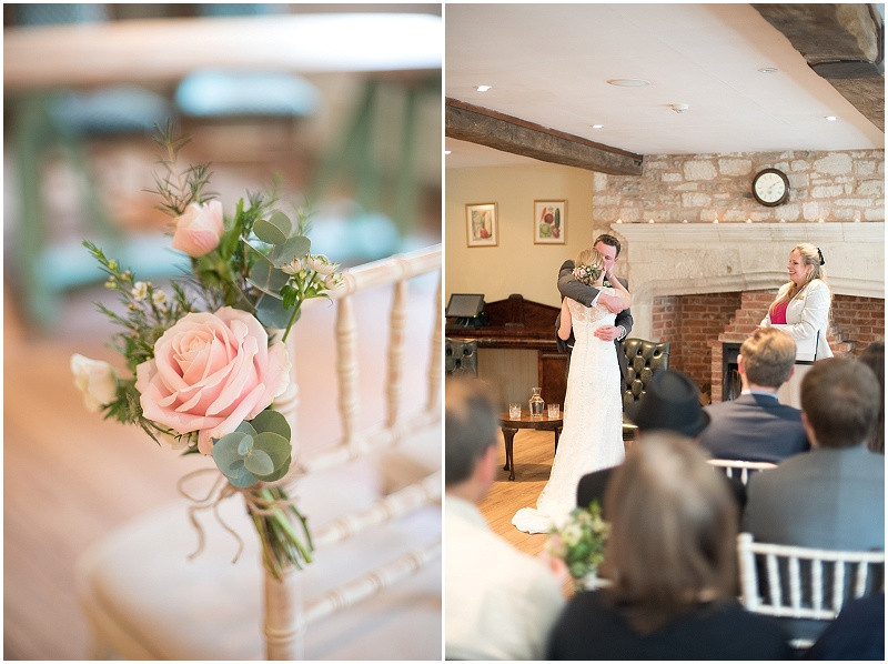 pink roses and chevalier chairs for winter wedding at The Moonraler Bradford Upon Avon
