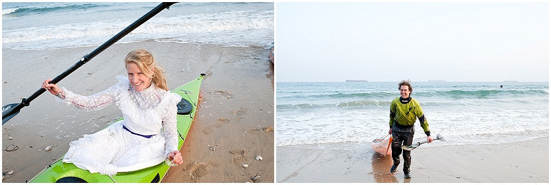 kayaking bride and groom for a boho beach wedding in Cornwall