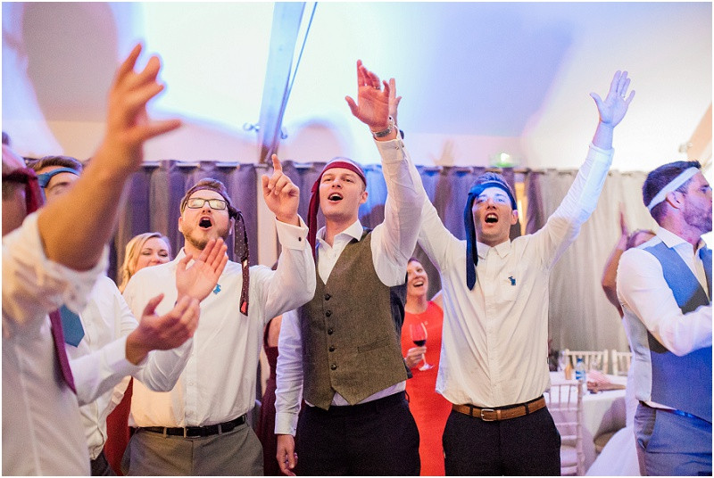 Guests dancing on dancefloor at Blackwell grange by Cotswolds wedding photographer