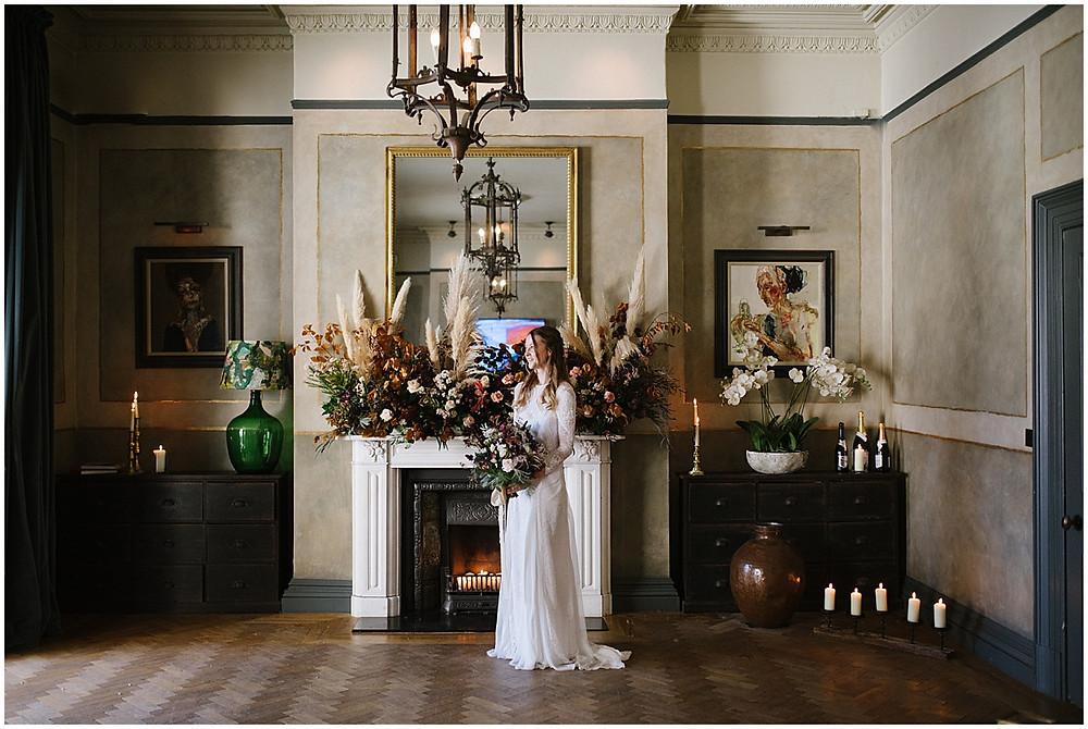 An Autumn wedding at luxury wedding venue No131 Cheltenham with Pampas grass decor