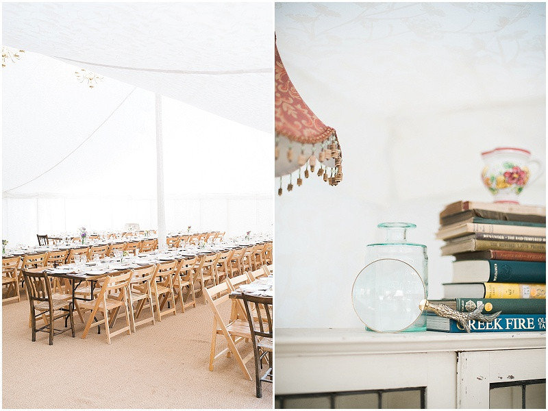 The Perch Inn Oxfordshire marquee wedding venue with long tables and vintage styling