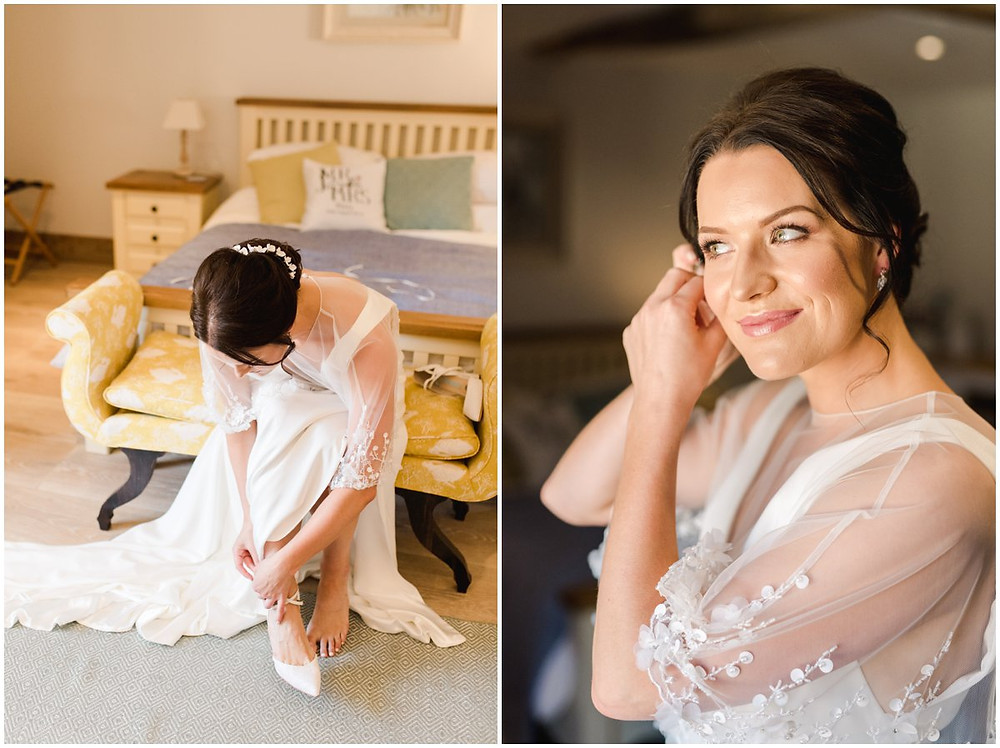 Bride getting ready at Cotswolds wedding venue Mickleton Hills Farm