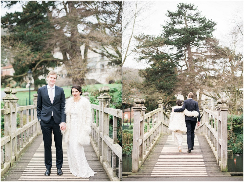 Bride and groom for winter wedding at Malvern Registry Office Worcestershire