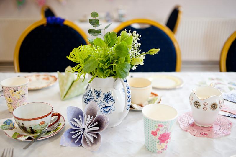 Cornish beach wedding tea party